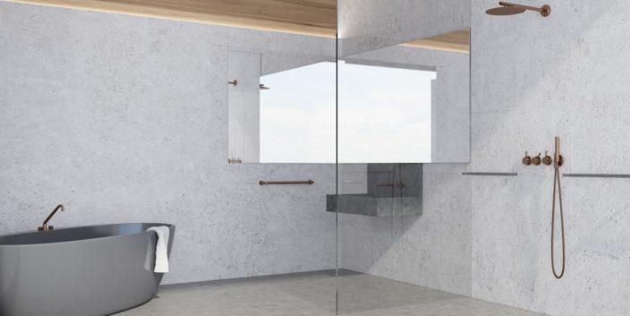 Solid Surface Shower Walls Porcelain Slab East Coast Flooring Interiors